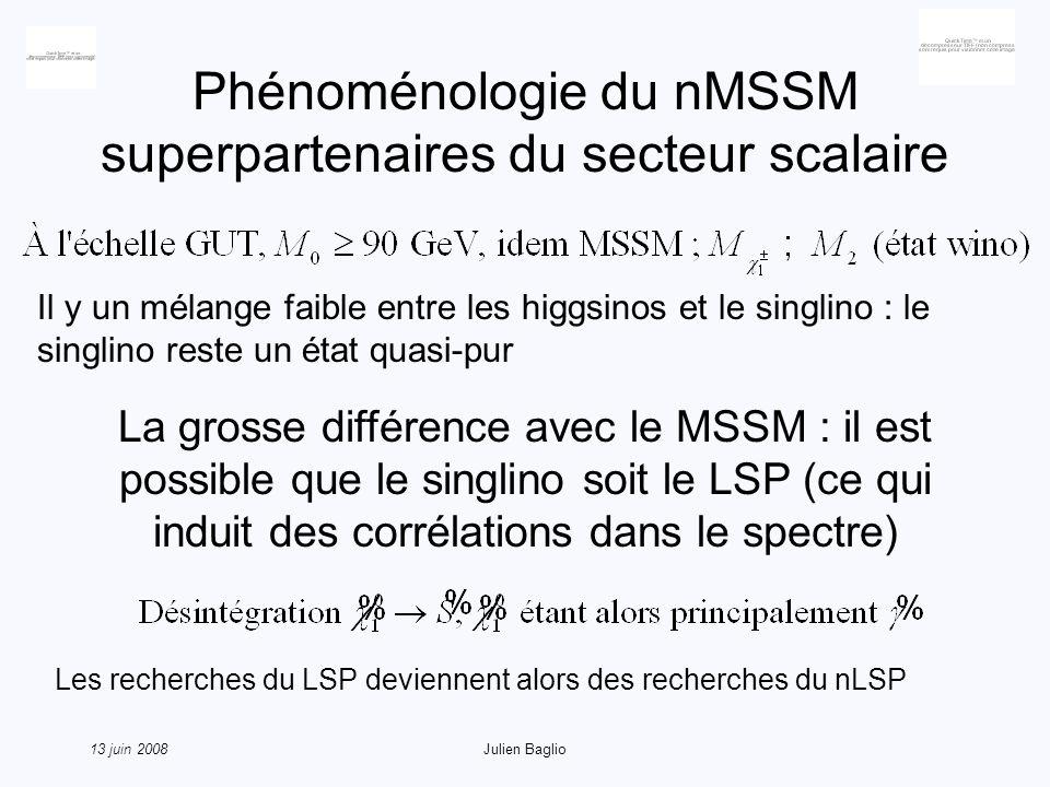 13 juin 2008Julien Baglio Phénoménologie du nMSSM superpartenaires du secteur scalaire Il y un mélange faible entre les higgsinos et le singlino : le singlino reste un état quasi-pur La grosse différence avec le MSSM : il est possible que le singlino soit le LSP (ce qui induit des corrélations dans le spectre) Les recherches du LSP deviennent alors des recherches du nLSP