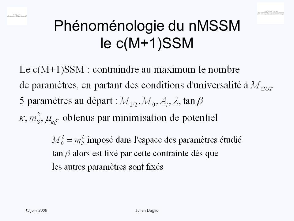 13 juin 2008Julien Baglio Phénoménologie du nMSSM le c(M+1)SSM