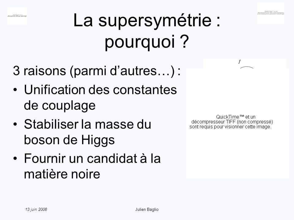 13 juin 2008Julien Baglio La supersymétrie : concepts de base Échange bosons et fermions et introduction dun opérateur Q : Symétrie généralisant les symétries de lespace-temps, nouvelle algèbre :