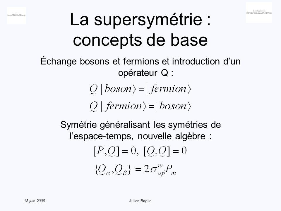 13 juin 2008Julien Baglio La supersymétrie : brisure de symétrie A notre échelle, la supersymétrie est donc brisée Chaque boson possède un superpartenaire fermionique, et vice-versa Or par exemple, on ne connaît pas de boson de même charge que lélectron, de même masse, etc… Dans le cadre du MSSM et du nMSSM, cette brisure est mise à la main : les masses des partenaires supersymétriques sont des paramètres libres du modèle