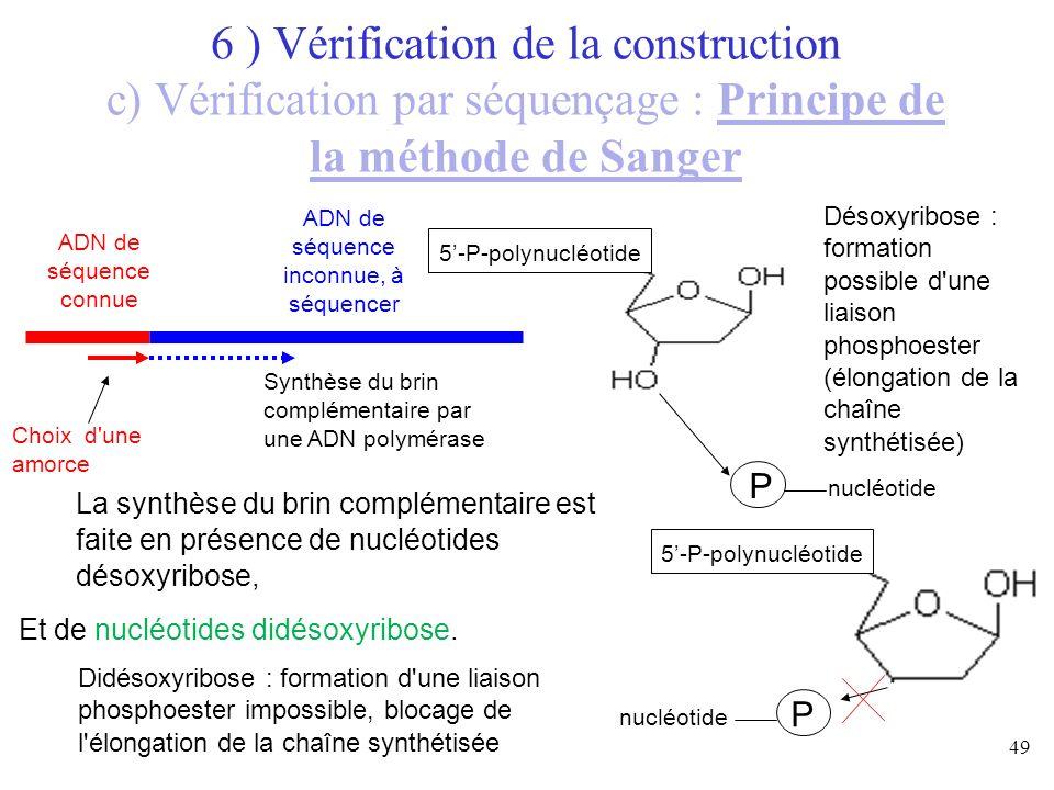 49 ADN de séquence connue ADN de séquence inconnue, à séquencer 6 ) Vérification de la construction c) Vérification par séquençage : Principe de la mé