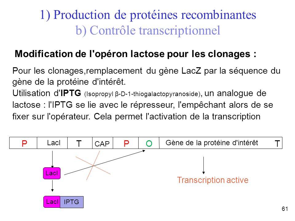 61 Pour les clonages,remplacement du gène LacZ par la séquence du gène de la protéine d'intérêt. Utilisation d'IPTG (Isopropyl β-D-1-thiogalactopyrano
