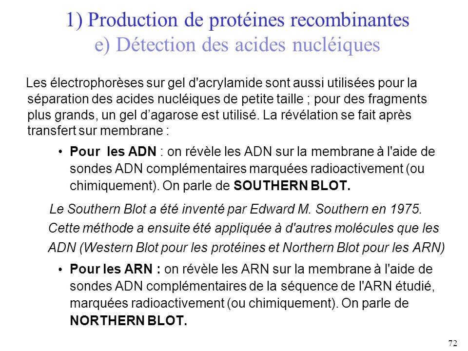 Les électrophorèses sur gel d'acrylamide sont aussi utilisées pour la séparation des acides nucléiques de petite taille ; pour des fragments plus gran