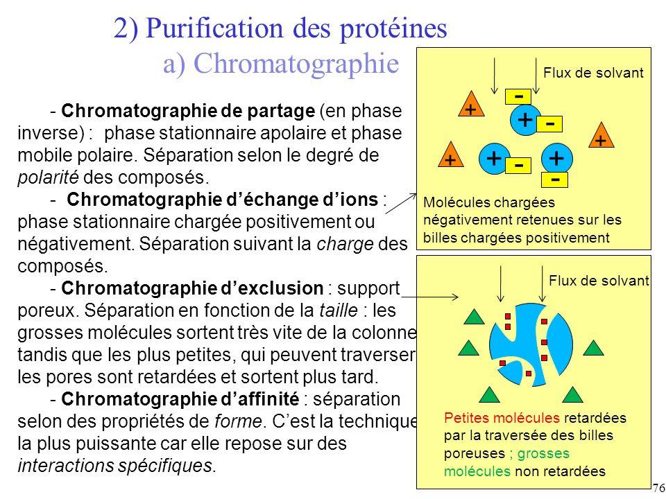 - Chromatographie de partage (en phase inverse) : phase stationnaire apolaire et phase mobile polaire. Séparation selon le degré de polarité des compo