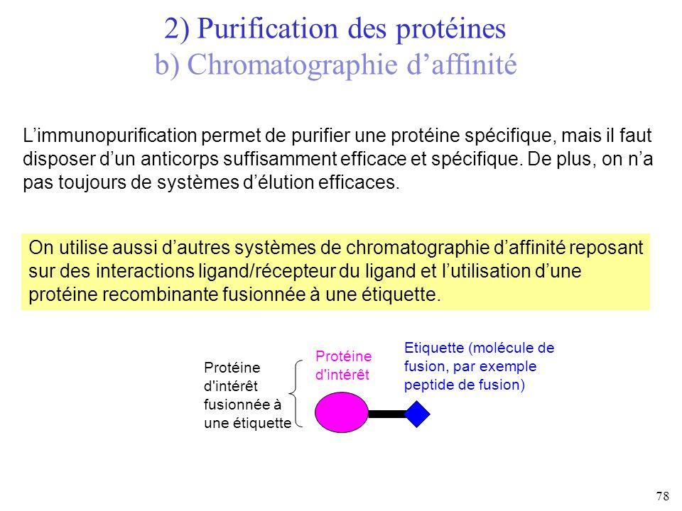Limmunopurification permet de purifier une protéine spécifique, mais il faut disposer dun anticorps suffisamment efficace et spécifique. De plus, on n