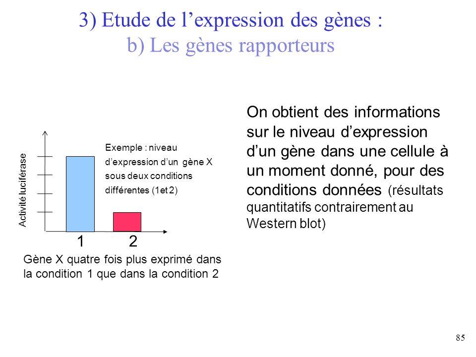 85 3) Etude de lexpression des gènes : b) Les gènes rapporteurs On obtient des informations sur le niveau dexpression dun gène dans une cellule à un m