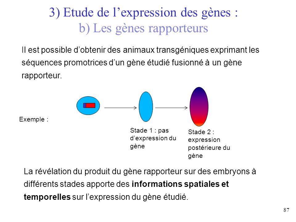 87 3) Etude de lexpression des gènes : b) Les gènes rapporteurs Il est possible dobtenir des animaux transgéniques exprimant les séquences promotrices