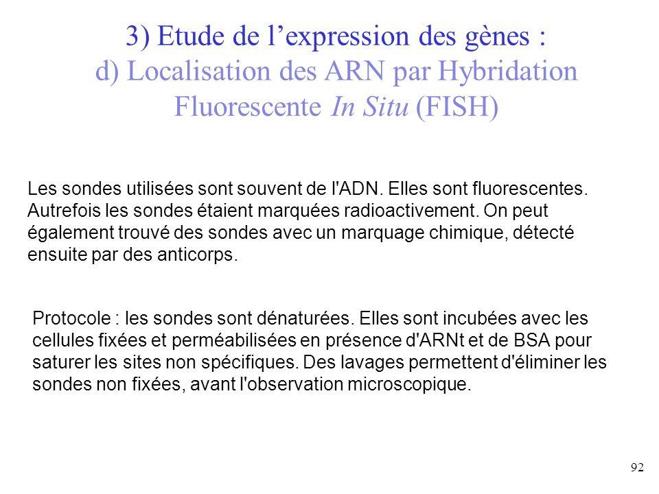Les sondes utilisées sont souvent de l'ADN. Elles sont fluorescentes. Autrefois les sondes étaient marquées radioactivement. On peut également trouvé
