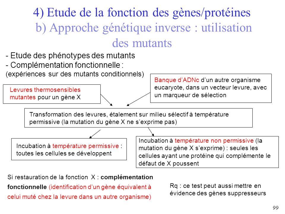 4) Etude de la fonction des gènes/protéines b) Approche génétique inverse : utilisation des mutants 99 - Etude des phénotypes des mutants - Complément