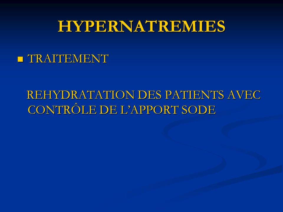 HYPERNATREMIES TRAITEMENT TRAITEMENT REHYDRATATION DES PATIENTS AVEC CONTRÔLE DE LAPPORT SODE REHYDRATATION DES PATIENTS AVEC CONTRÔLE DE LAPPORT SODE