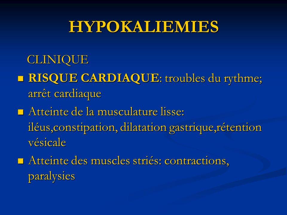 HYPOKALIEMIES CLINIQUE CLINIQUE RISQUE CARDIAQUE: troubles du rythme; arrêt cardiaque RISQUE CARDIAQUE: troubles du rythme; arrêt cardiaque Atteinte de la musculature lisse: iléus,constipation, dilatation gastrique,rétention vésicale Atteinte de la musculature lisse: iléus,constipation, dilatation gastrique,rétention vésicale Atteinte des muscles striés: contractions, paralysies Atteinte des muscles striés: contractions, paralysies
