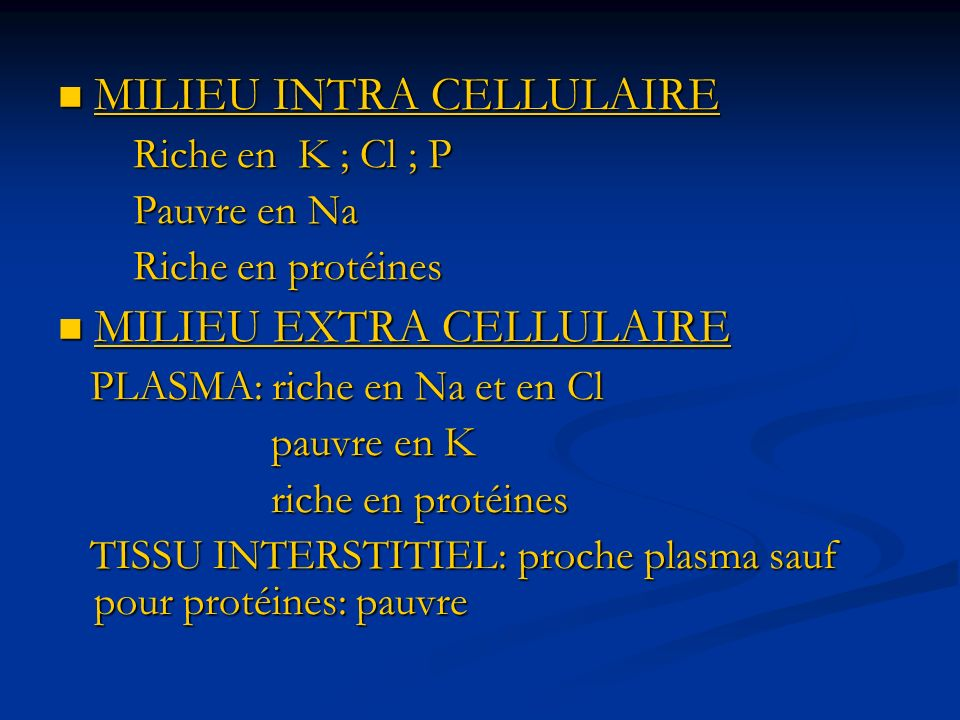 MILIEU INTRA CELLULAIRE MILIEU INTRA CELLULAIRE Riche en K ; Cl ; P Riche en K ; Cl ; P Pauvre en Na Pauvre en Na Riche en protéines Riche en protéines MILIEU EXTRA CELLULAIRE MILIEU EXTRA CELLULAIRE PLASMA: riche en Na et en Cl PLASMA: riche en Na et en Cl pauvre en K pauvre en K riche en protéines riche en protéines TISSU INTERSTITIEL: proche plasma sauf pour protéines: pauvre TISSU INTERSTITIEL: proche plasma sauf pour protéines: pauvre
