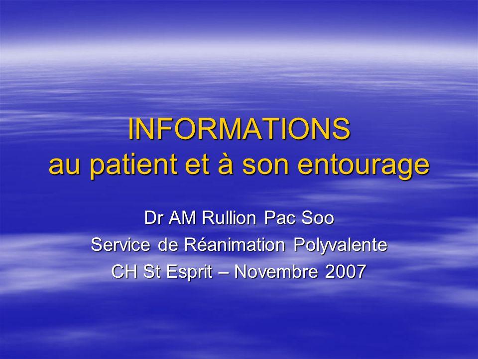 Introduction Information du patient = OBLIGATION commune à toutes les activités médicales Information du patient = OBLIGATION commune à toutes les activités médicales Information porte sur Information porte sur - la situation médicale du patient - les conditions de son hospitalisation et de son séjour