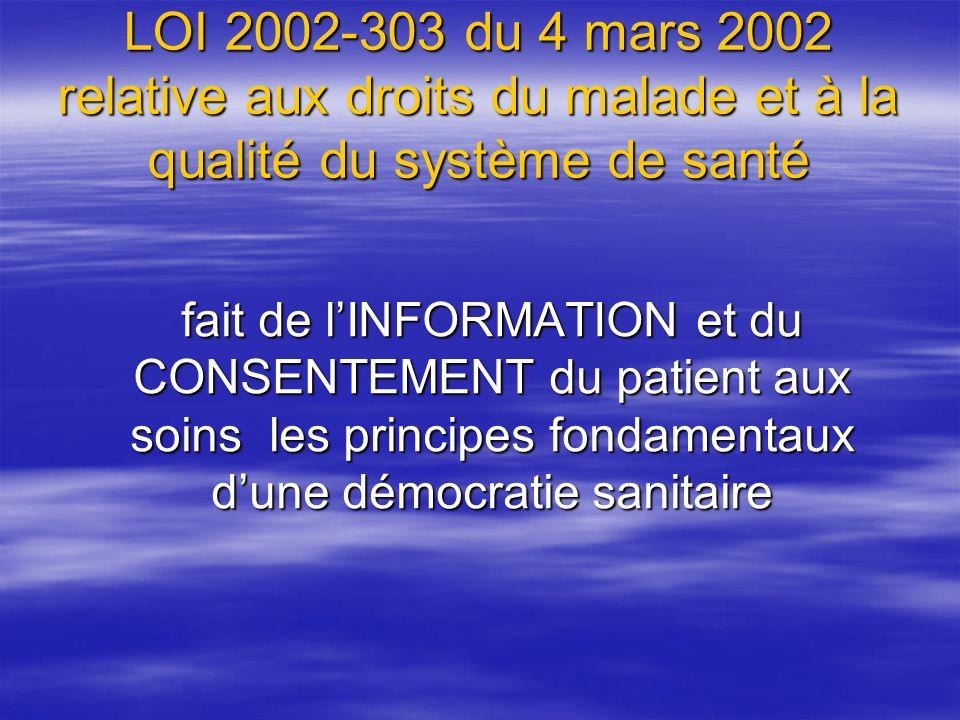 LOI 2002-303 du 4 mars 2002 relative aux droits du malade et à la qualité du système de santé Art.