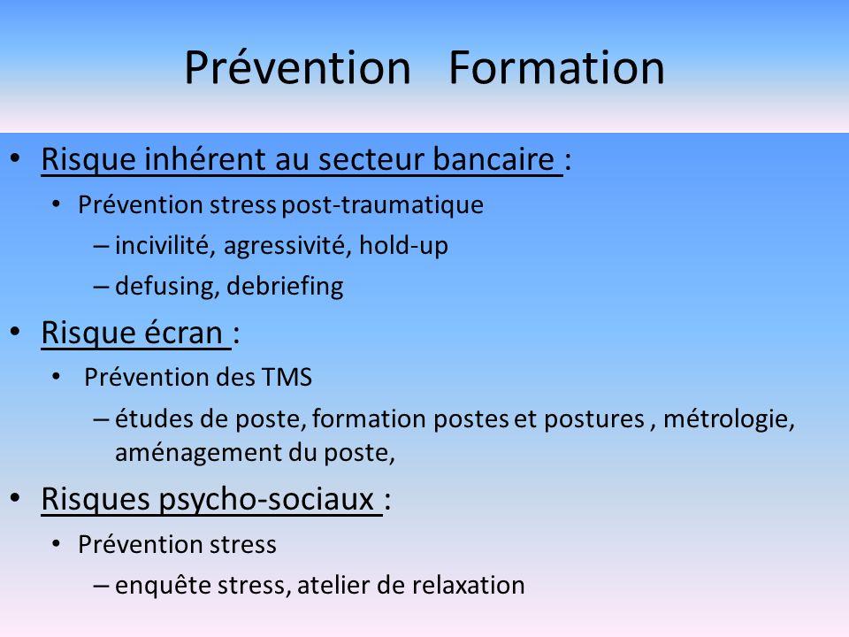 Prévention Formation Risque inhérent au secteur bancaire : Prévention stress post-traumatique – incivilité, agressivité, hold-up – defusing, debriefin