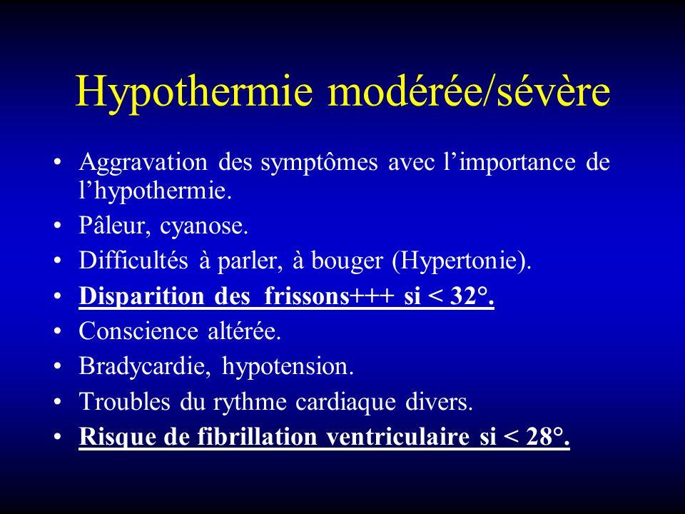 Hypothermie modérée/sévère Aggravation des symptômes avec limportance de lhypothermie. Pâleur, cyanose. Difficultés à parler, à bouger (Hypertonie). D