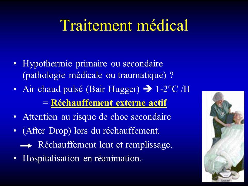 Traitement médical Hypothermie primaire ou secondaire (pathologie médicale ou traumatique) ? Air chaud pulsé (Bair Hugger) 1-2°C /H = Réchauffement ex