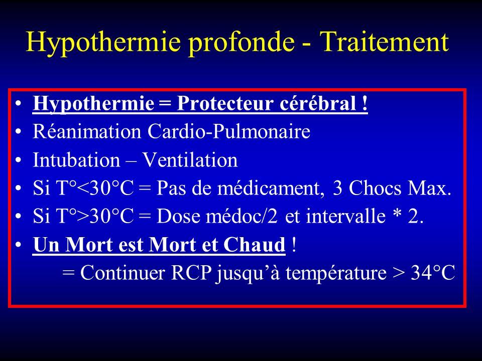 Hypothermie profonde - Traitement Hypothermie = Protecteur cérébral ! Réanimation Cardio-Pulmonaire Intubation – Ventilation Si T°<30°C = Pas de médic