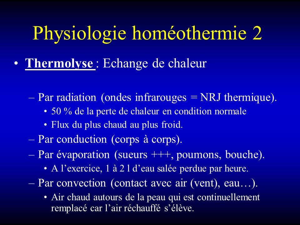 Physiologie homéothermie 2 Thermolyse : Echange de chaleur –Par radiation (ondes infrarouges = NRJ thermique). 50 % de la perte de chaleur en conditio