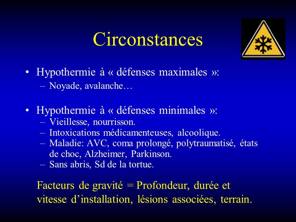 Circonstances Hypothermie à « défenses maximales »: –Noyade, avalanche… Hypothermie à « défenses minimales »: –Vieillesse, nourrisson. –Intoxications