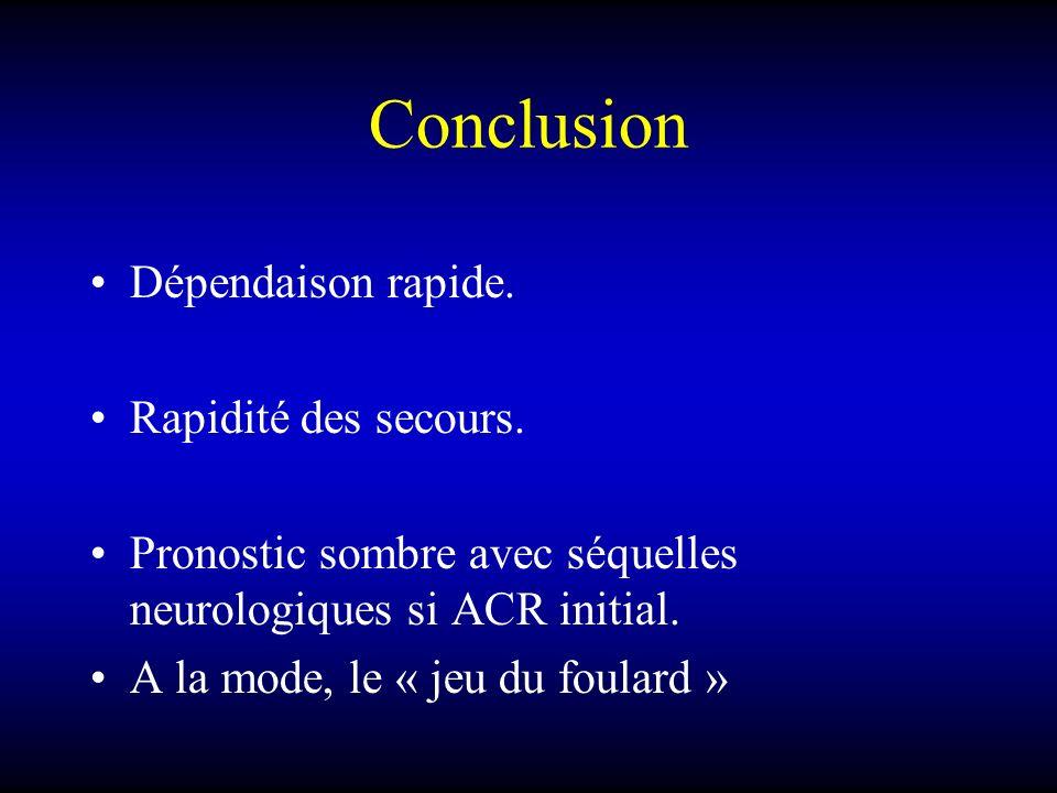Conclusion Dépendaison rapide. Rapidité des secours. Pronostic sombre avec séquelles neurologiques si ACR initial. A la mode, le « jeu du foulard »