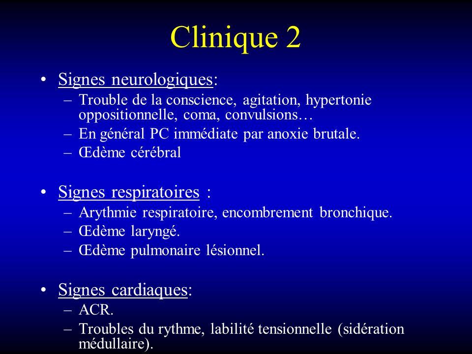 Clinique 2 Signes neurologiques: –Trouble de la conscience, agitation, hypertonie oppositionnelle, coma, convulsions… –En général PC immédiate par ano