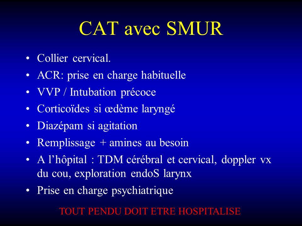 CAT avec SMUR Collier cervical. ACR: prise en charge habituelle VVP / Intubation précoce Corticoïdes si œdème laryngé Diazépam si agitation Remplissag