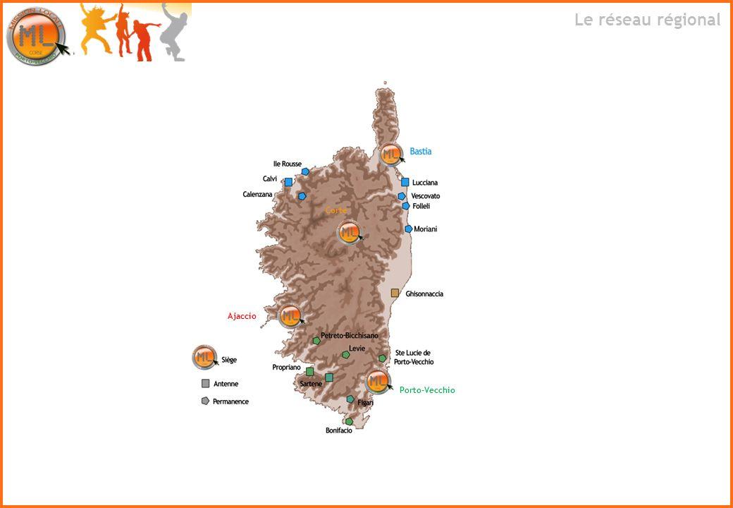 Le réseau régional Porto-Vecchio Ajaccio Corte
