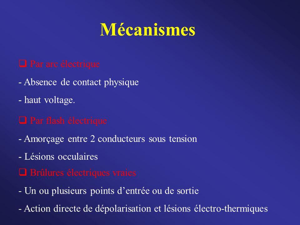 Mécanismes Par arc électrique - Absence de contact physique - haut voltage. Par flash électrique - Amorçage entre 2 conducteurs sous tension - Lésions