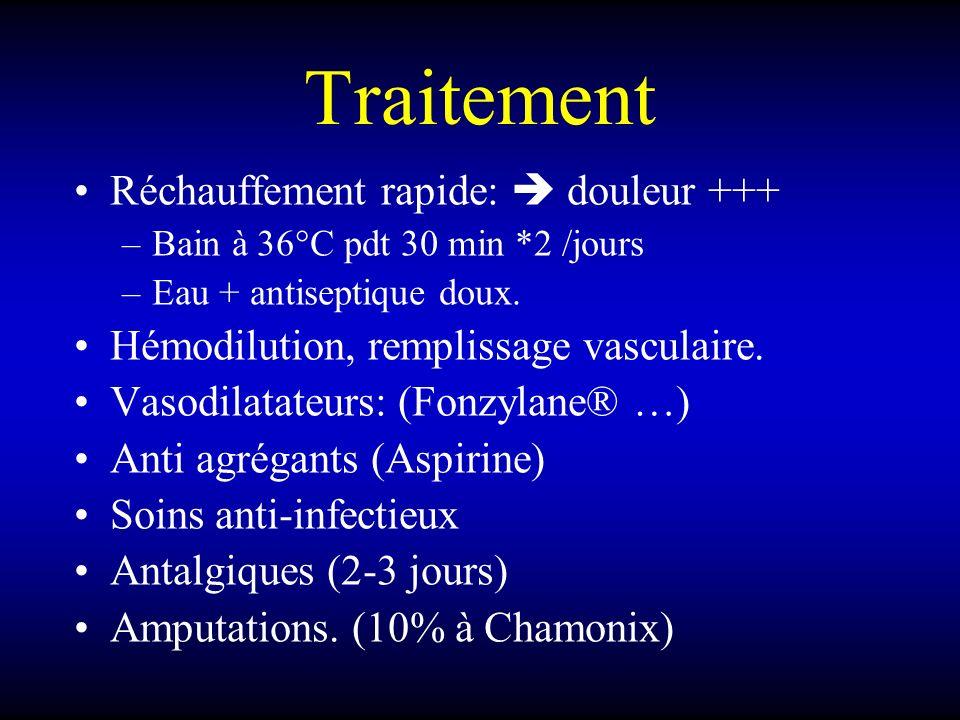Traitement Réchauffement rapide: douleur +++ –Bain à 36°C pdt 30 min *2 /jours –Eau + antiseptique doux. Hémodilution, remplissage vasculaire. Vasodil