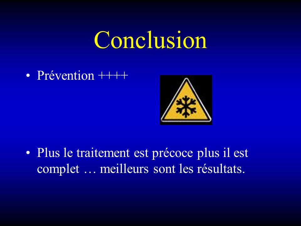 Conclusion Prévention ++++ Plus le traitement est précoce plus il est complet … meilleurs sont les résultats.