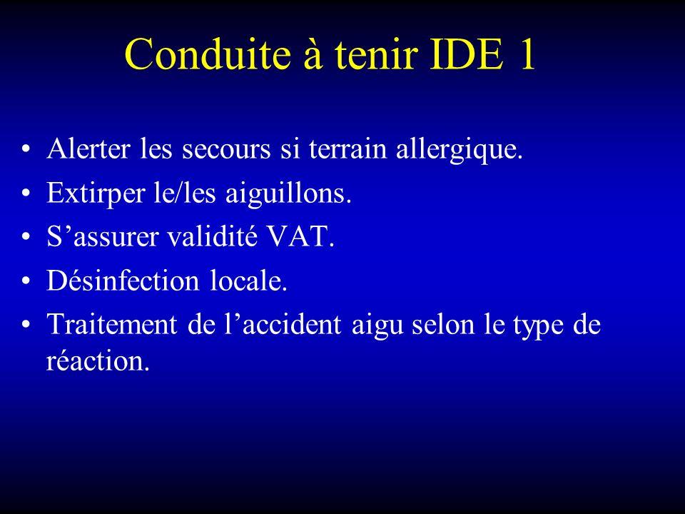 Conduite à tenir IDE 1 Alerter les secours si terrain allergique.
