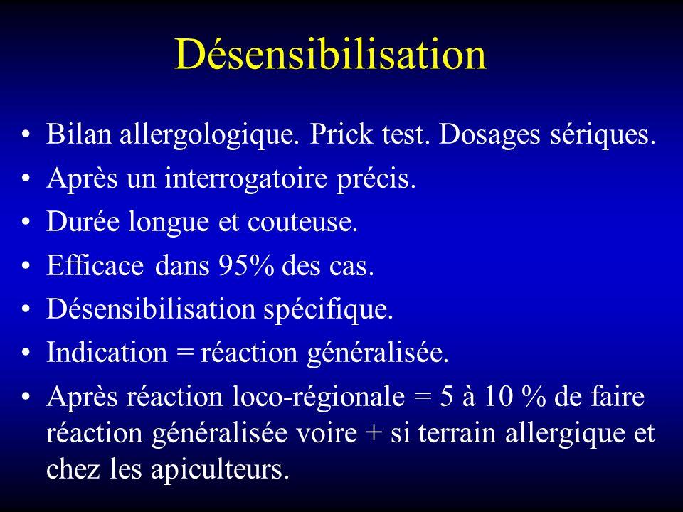 Désensibilisation Bilan allergologique.Prick test.