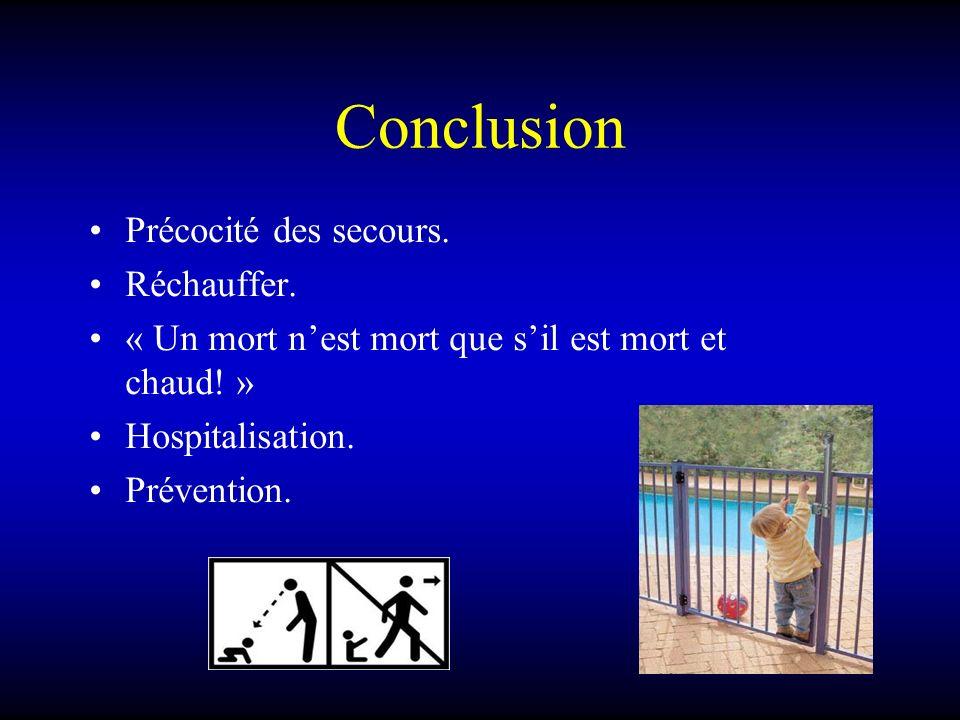 Conclusion Précocité des secours. Réchauffer. « Un mort nest mort que sil est mort et chaud! » Hospitalisation. Prévention.