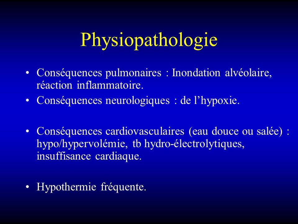 Physiopathologie Conséquences pulmonaires : Inondation alvéolaire, réaction inflammatoire. Conséquences neurologiques : de lhypoxie. Conséquences card