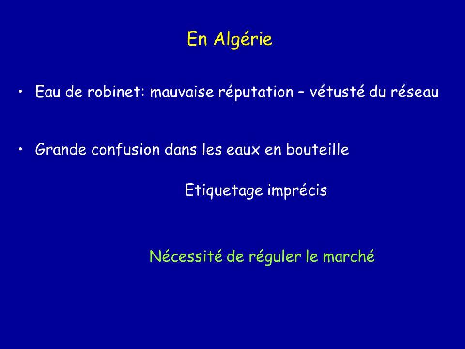 En Algérie Eau de robinet: mauvaise réputation – vétusté du réseau Grande confusion dans les eaux en bouteille Etiquetage imprécis Nécessité de régule