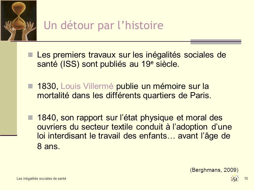 10 Un détour par lhistoire Les premiers travaux sur les inégalités sociales de santé (ISS) sont publiés au 19 e siècle. 1830, Louis Villermé publie un