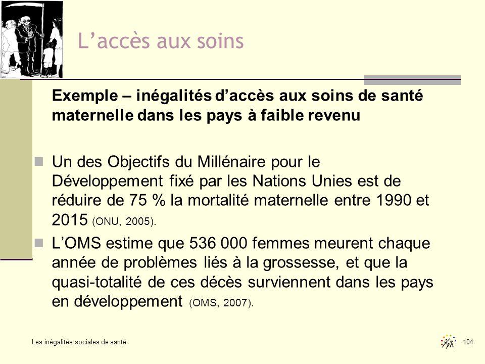 Les inégalités sociales de santé 104 Laccès aux soins Exemple – inégalités daccès aux soins de santé maternelle dans les pays à faible revenu Un des O