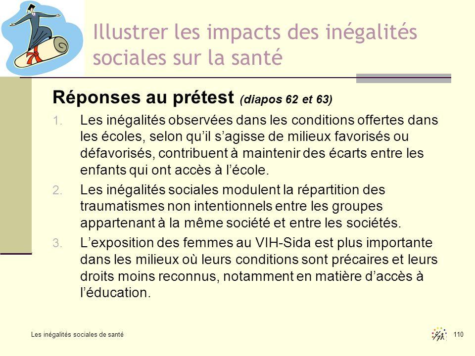 Les inégalités sociales de santé 110 Illustrer les impacts des inégalités sociales sur la santé Réponses au prétest (diapos 62 et 63) 1. Les inégalité