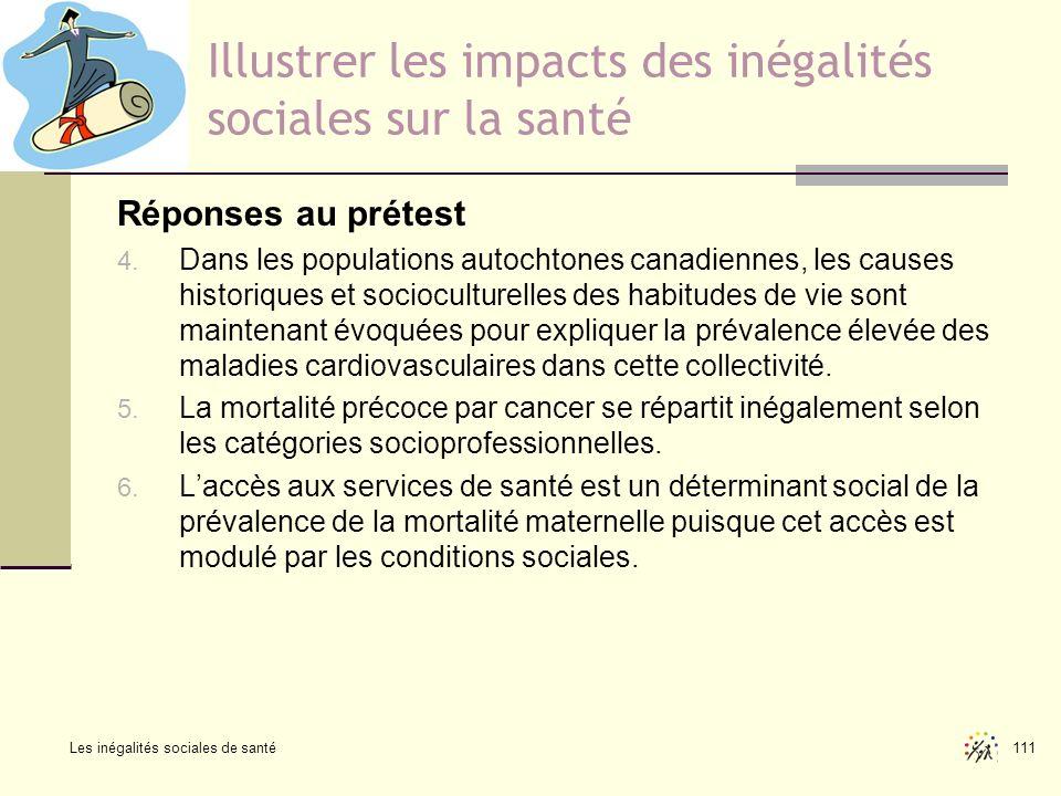Les inégalités sociales de santé 111 Illustrer les impacts des inégalités sociales sur la santé Réponses au prétest 4. Dans les populations autochtone