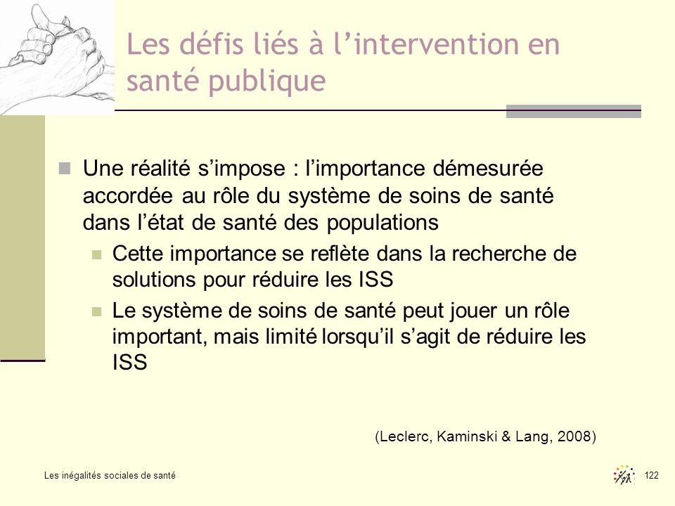 Les inégalités sociales de santé 122 Les défis liés à lintervention en santé publique Une réalité simpose : limportance démesurée accordée au rôle du