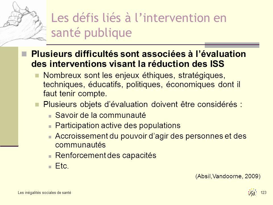 Les inégalités sociales de santé 123 Les défis liés à lintervention en santé publique Plusieurs difficultés sont associées à lévaluation des intervent