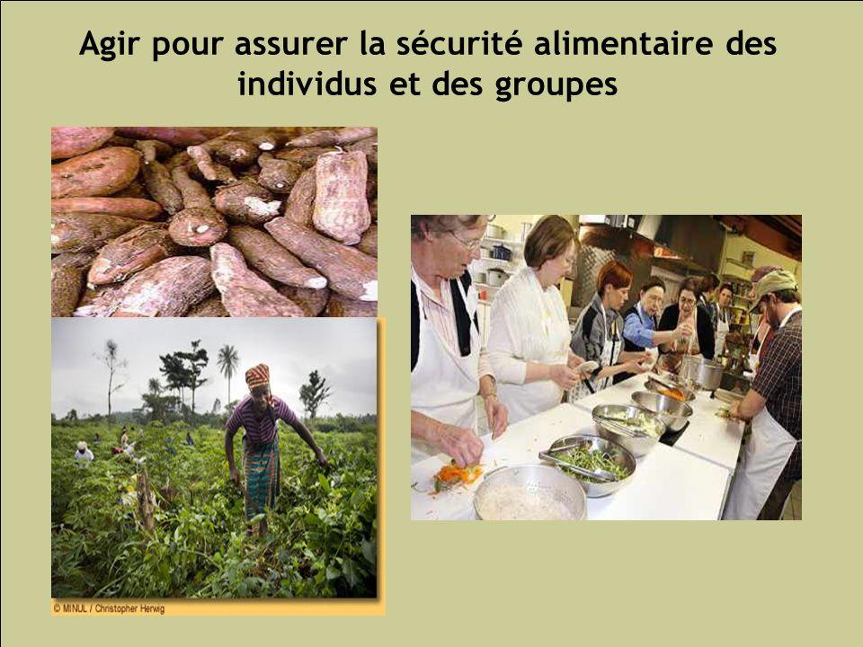 Les inégalités sociales de santé 148 Agir pour assurer la sécurité alimentaire des individus et des groupes