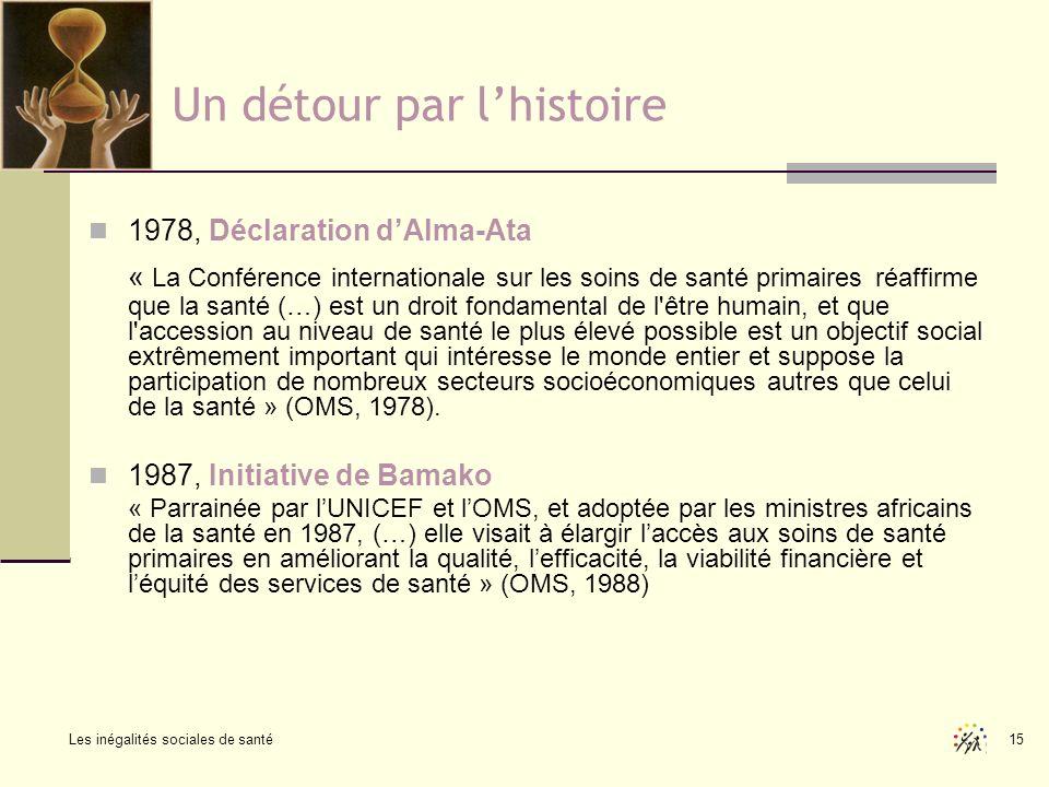 Les inégalités sociales de santé 15 Un détour par lhistoire 1978, Déclaration dAlma-Ata « La Conférence internationale sur les soins de santé primaire