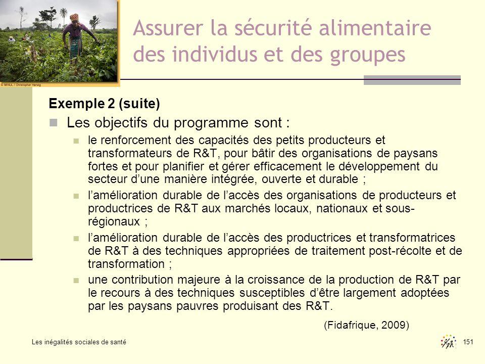 Les inégalités sociales de santé 151 Assurer la sécurité alimentaire des individus et des groupes Exemple 2 (suite) Les objectifs du programme sont :