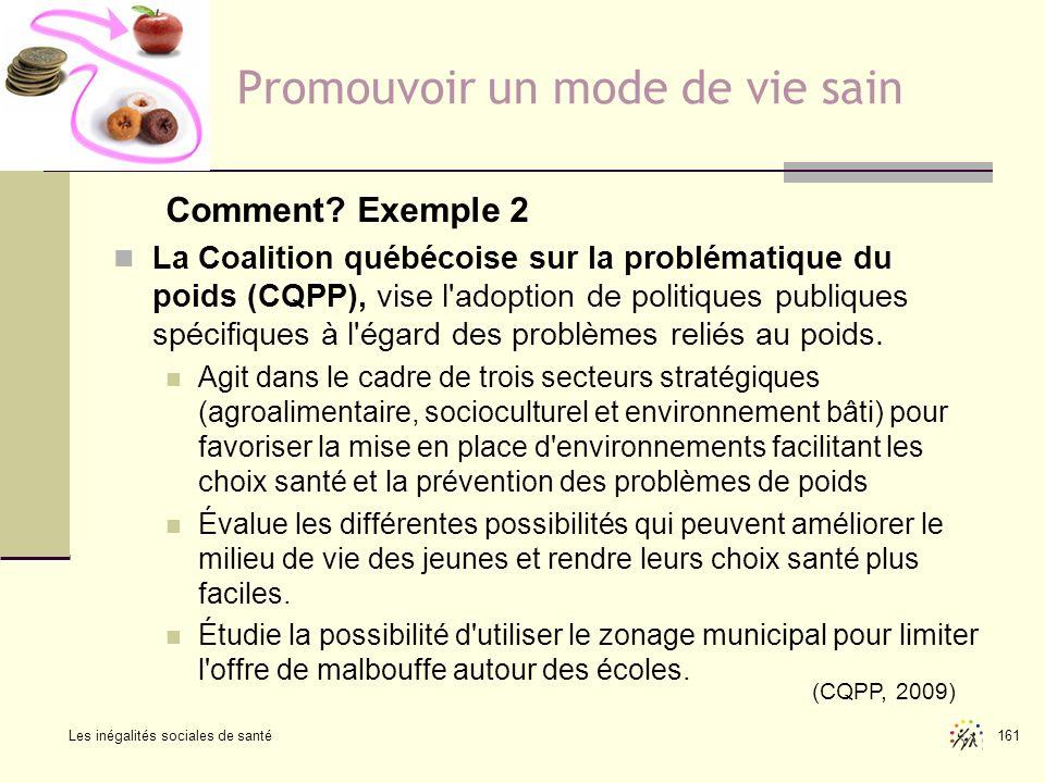 Les inégalités sociales de santé 161 Promouvoir un mode de vie sain Comment? Exemple 2 La Coalition québécoise sur la problématique du poids (CQPP), v