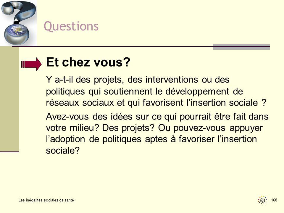 Les inégalités sociales de santé 168 Questions Et chez vous? Y a-t-il des projets, des interventions ou des politiques qui soutiennent le développemen