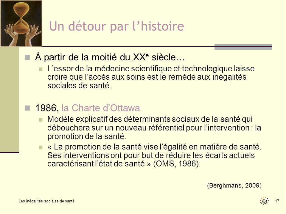 Les inégalités sociales de santé 17 Un détour par lhistoire À partir de la moitié du XX e siècle… Lessor de la médecine scientifique et technologique
