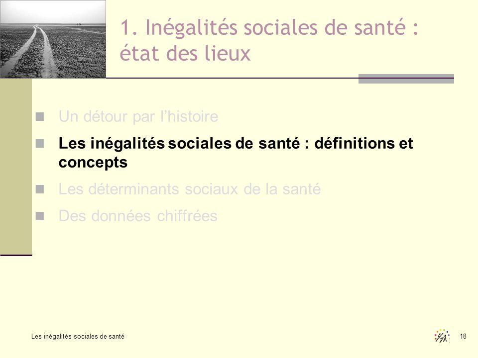 Les inégalités sociales de santé 18 1. Inégalités sociales de santé : état des lieux Un détour par lhistoire Les inégalités sociales de santé : défini