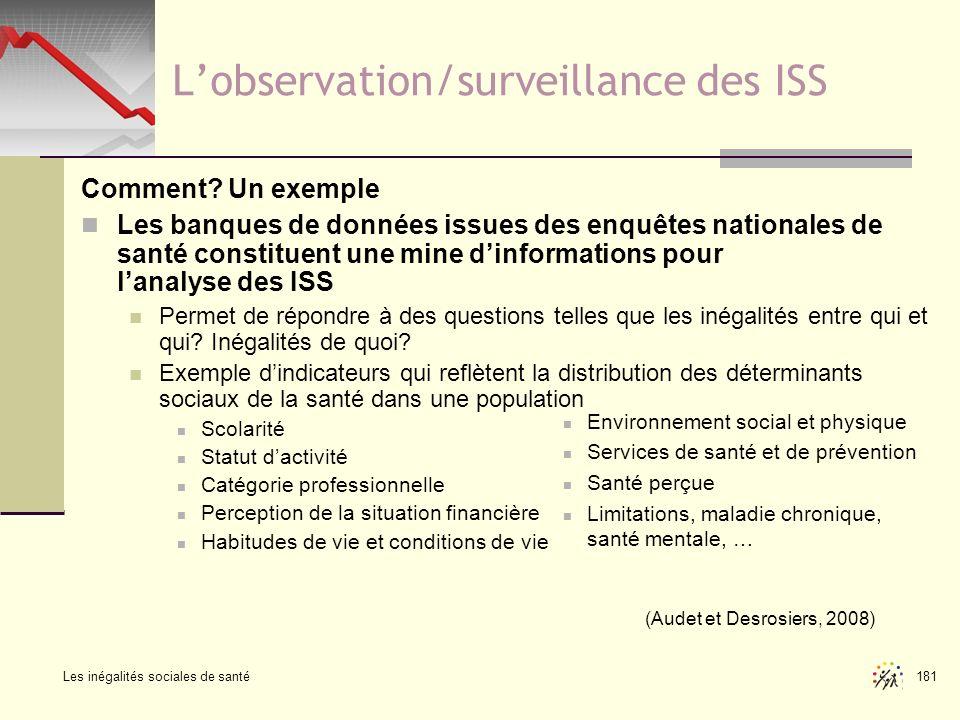 Les inégalités sociales de santé 181 Lobservation/surveillance des ISS Comment? Un exemple Les banques de données issues des enquêtes nationales de sa